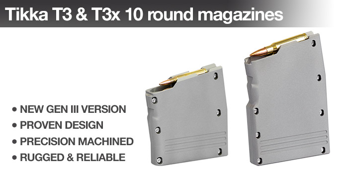 Back in stock: T3 & T3x 10 round .223 and .308 magazines
